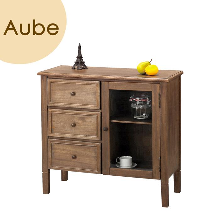 Aube(オーブ) 「ワイドチェスト」 ブラウン 天然木(桐) リビング収納 【送料無料】