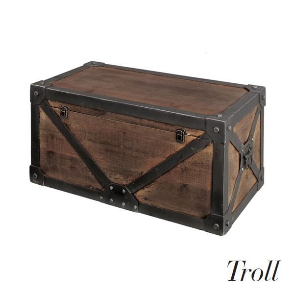 Troll(トロール) 「トロールトランク Mサイズ」 天然木+鉄で重厚感たっぷり! ヴィンテージ/中世/アンティーク調/テーブル/机 /ディスプレイ