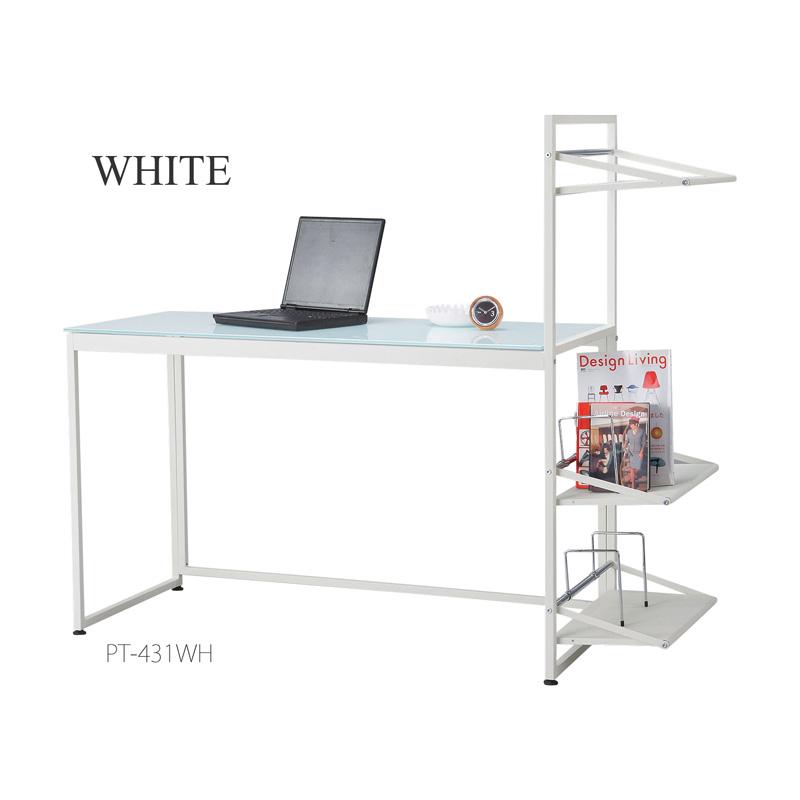 ガラス天板PCデスクパソコンデスク ホワイト/ブラック 【送料無料】