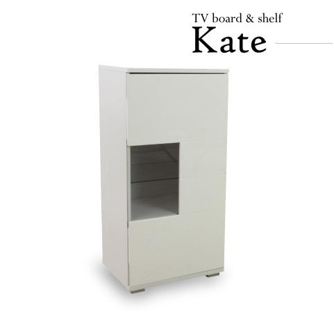 「Kate(ケイト)ハイグロスサイドキャビネット」 扉付替え可 ホワイト ハイグロス仕様 【送料無料】