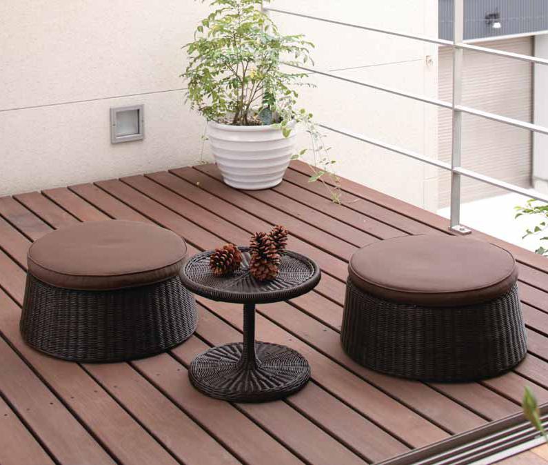 タカショー ガーデンテーブル3点セット 「エンザ サイドテーブルセット」 ≪テーブル1台+チェアー2脚≫ 高級人工ラタンファニチャー ロムガーデンシリーズ