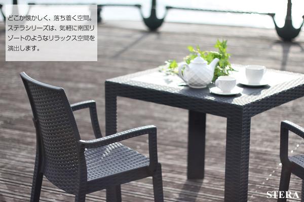 ガーデンファニチャー STERA 「ステラチェアー(肘付き) 2脚組」 ≪ブラック グレー≫ ラタン調 ガーデンチェア ガーデン 家具 椅子 イス ファニチャー 庭 エクステリア ガーデン