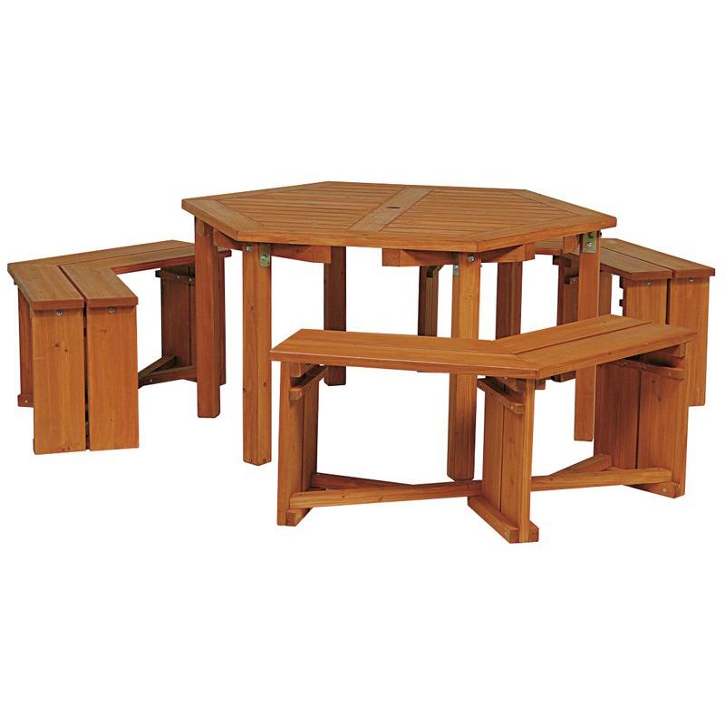 Takashi Garden Table Set Woody Hexagon Bench 1 Three Legged Natural Wood Grain 4 Piece