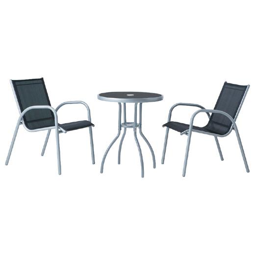 タカショー ガーデンテーブル3点セット 「フレスコ テーブルセット ブラック」 ガラステーブル 通気性が良く快適な座面&背もたれ G-STYLEシリーズ
