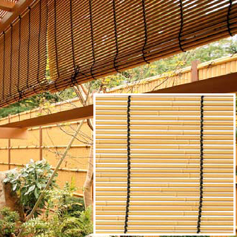 タカショー 「軒掛けスダレ」 イエロー 幅1800×高さ400mm 人工竹仕様 簾(すだれ)