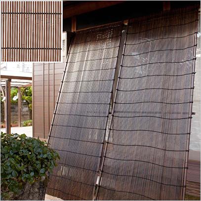 タカショー 「合成竹たてす」 すす竹 幅900×高さ2400mm 補助ポール付き 人工竹仕様