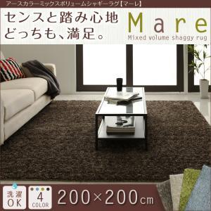 アースカラーミックスボリュームシャギーラグ 「Mare」マーレ <200×200cm>全4色ふわふわ 手洗い マット イメチェン オールシーズン