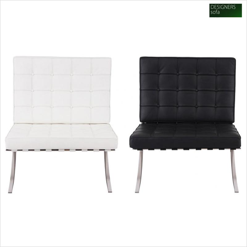 イタリア製トップスキンレザー本革使用 1人掛けソファ「Barcelona chair」バルセロナチェア 1P 幅74.5×奥行き77×高さ76(座面高45)cm 選べる2色♪(ブラック/ホワイト)040108848