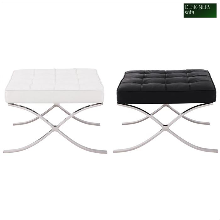 イタリア製トップスキンレザー本革使用 足置き台「Barcelona chair」バルセロナ オットマン 幅61×奥行き56×高さ38cm 選べる2色♪(ブラック/ホワイト)040108851