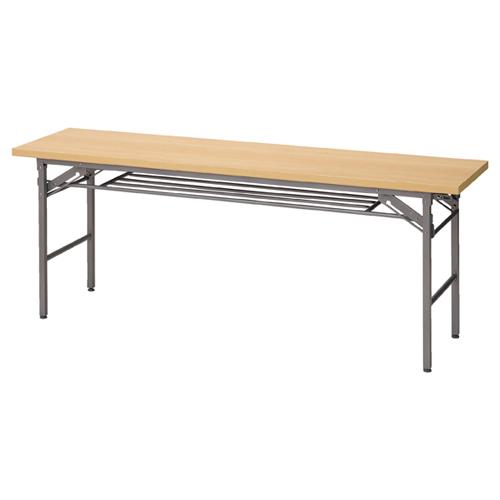折りたたみ会議テーブル ナチュラル(NA)W180×D60×H70cm 棚付き 長机 長テーブル