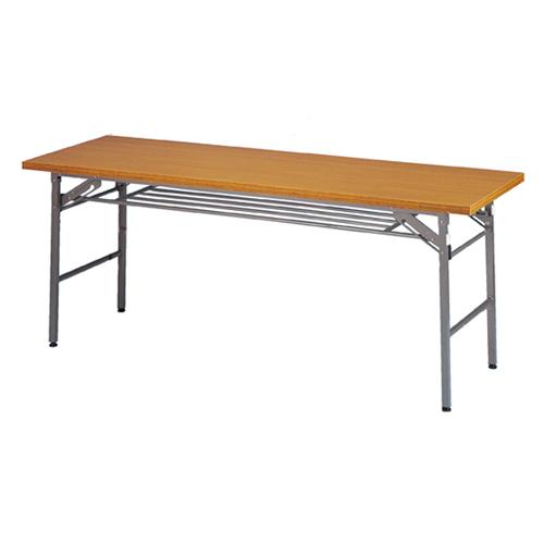 折りたたみ会議テーブル チーク色 W180×D45×H70cm 棚付き 長机 長テーブル