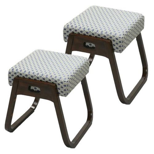 座・楽椅子(2脚組)完成品 法事や来客用の椅子 スタッキング(積み重ね)収納できる便利な木製スツール