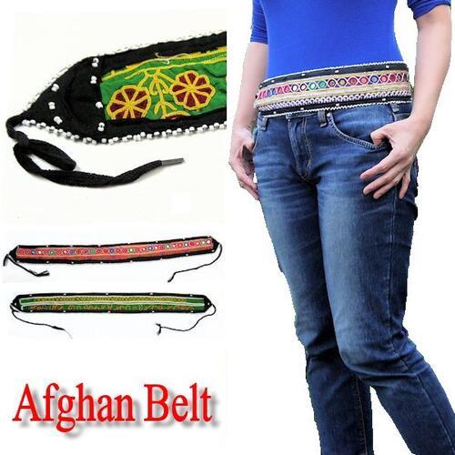 アフガンスタイル メール便可 すべて1点もの 買物 アフガンベルト ビーズ ビンテージ ミラー 至上 アフガニスタン 刺繍 ベルト