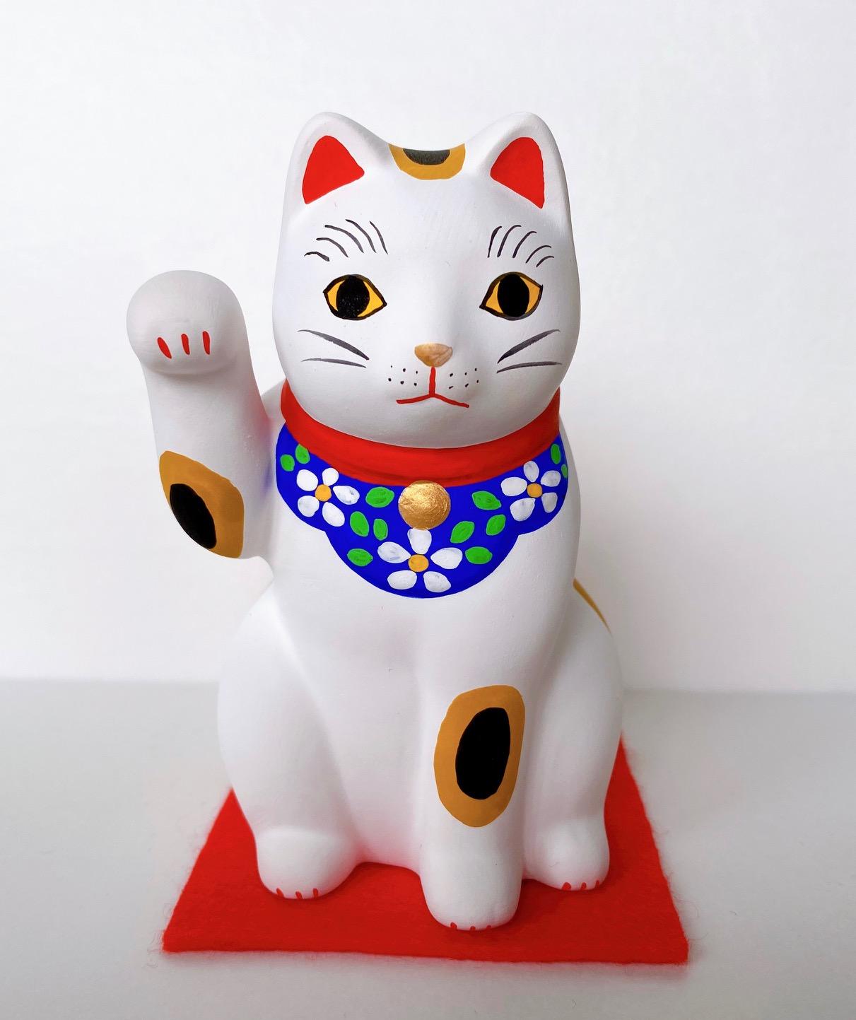 ネコで有名な谷中の招き猫 招き猫 開運 谷中猫 捧呈 谷中堂 幸せを願う贈物 開店祝い 最安値 ネコ