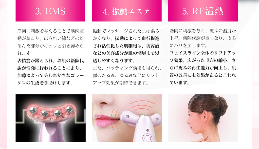 Facial belulu Rebirth Japan Electroporation Non-needle Mesotherapy LED Light treatment, massage, EMS, thighten-up high-frequency ultrasonic