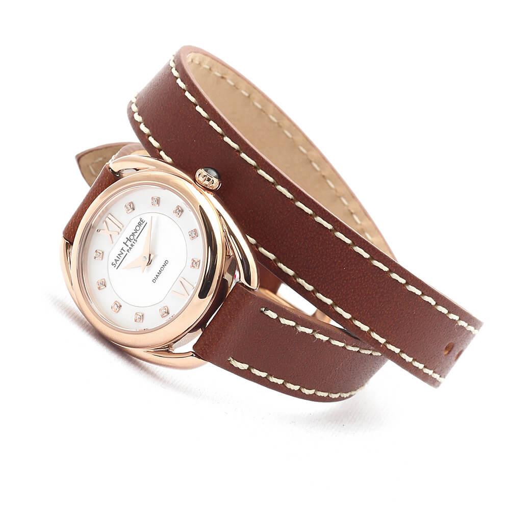 【2,000円OFFマラソンクーポン!9日20時から】SAINT HONORE サントノーレ SN7210248YADR カリスマ CHARISMA ブラウン 正規品 ダイヤモンド 革ベルト 腕時計 レディース