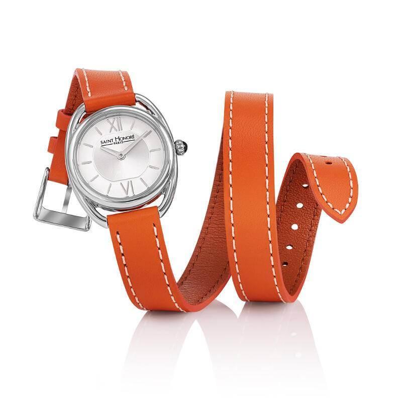 【2,000円OFFマラソンクーポン!9日20時から】SAINT HONORE サントノーレ SN7215241AIN カリスマ CHARISMA 正規品 オレンジ 革ベルト 腕時計 レディース