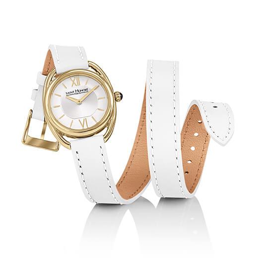 【2,000円OFFマラソンクーポン!9日20時から】SAINT HONORE サントノーレ SN7215243AIT カリスマ CHARISMA 正規品 ホワイト 革ベルト腕時計 レディース