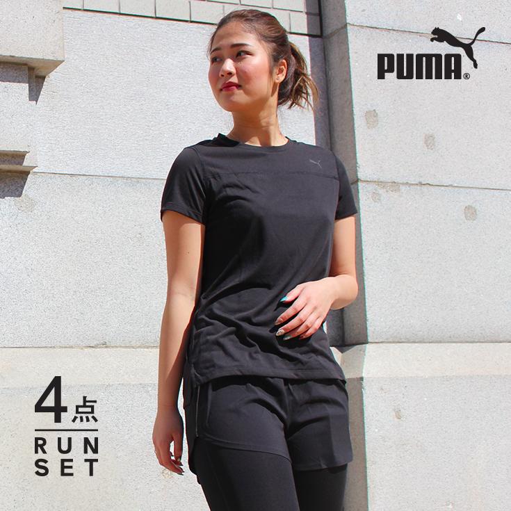 cd1b1dbe8cc Four points of Puma running wear Lady s sets short-sleeved T-shirt  underwear tights socks beginner marathon fashion cute top and bottom woman  jogging sports ...