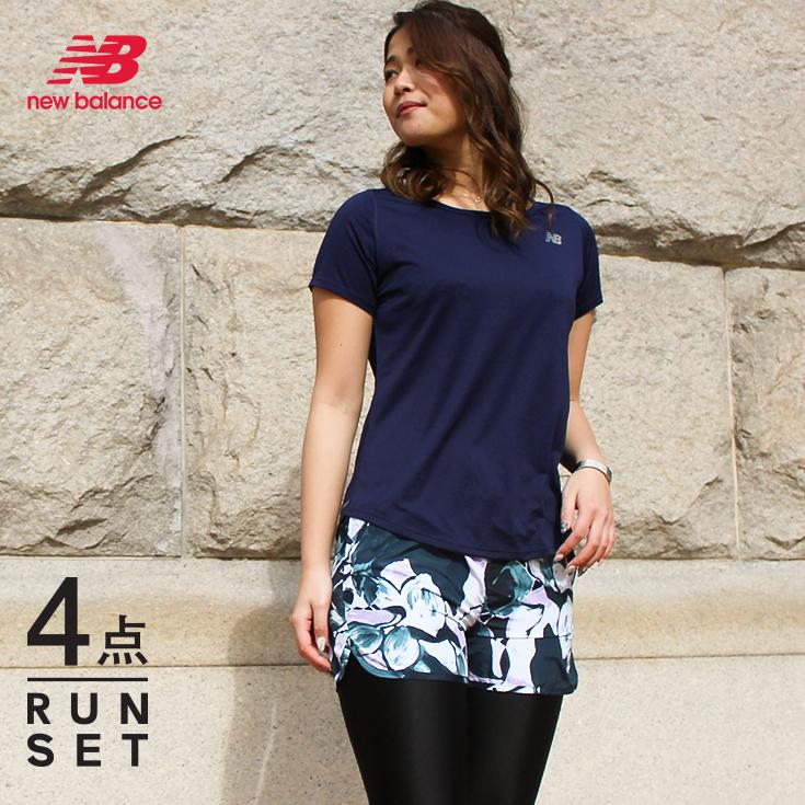 ニューバランス ランニングウェア セット レディース 4点 半袖Tシャツ パンツ タイツ ソックス 初心者 上下 女性 おしゃれ 可愛い ジョギング フルマラソン ウォーキング スポーツウェア セットアップ 福袋