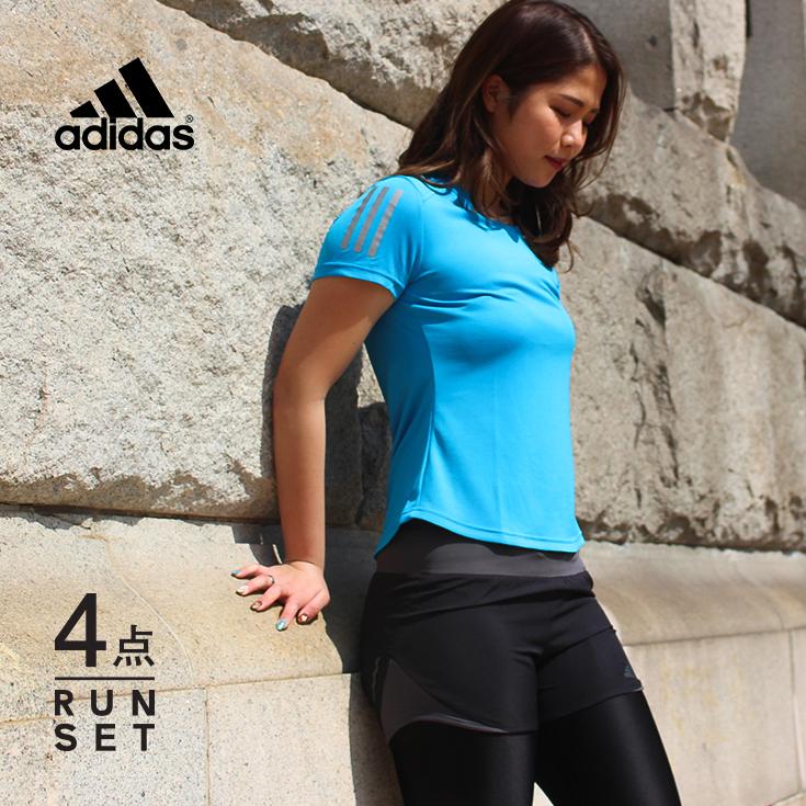 アディダス ランニングウェア レディース セット 4点 ( 半袖Tシャツ パンツ タイツ ソックス )adidas 初心者 マラソン おしゃれ かわいい 上下 女性 ジョギング スポーツ ウォーキング フィットネス スパッツ レギンス 靴下 福袋