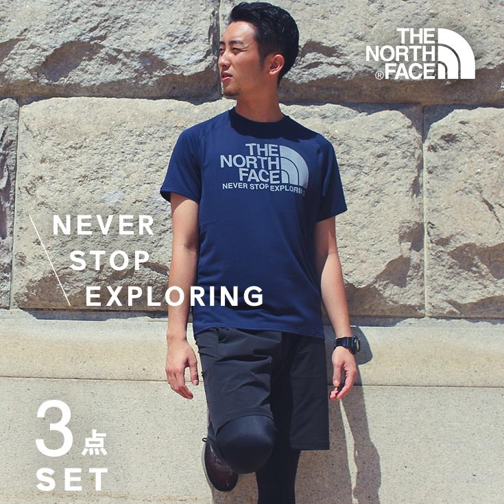 ノースフェイス ランニングウェア メンズ セット 3点(半袖Tシャツ パンツ タイツ )マラソン THENORTHFACE 初心者 上下 男性 福袋