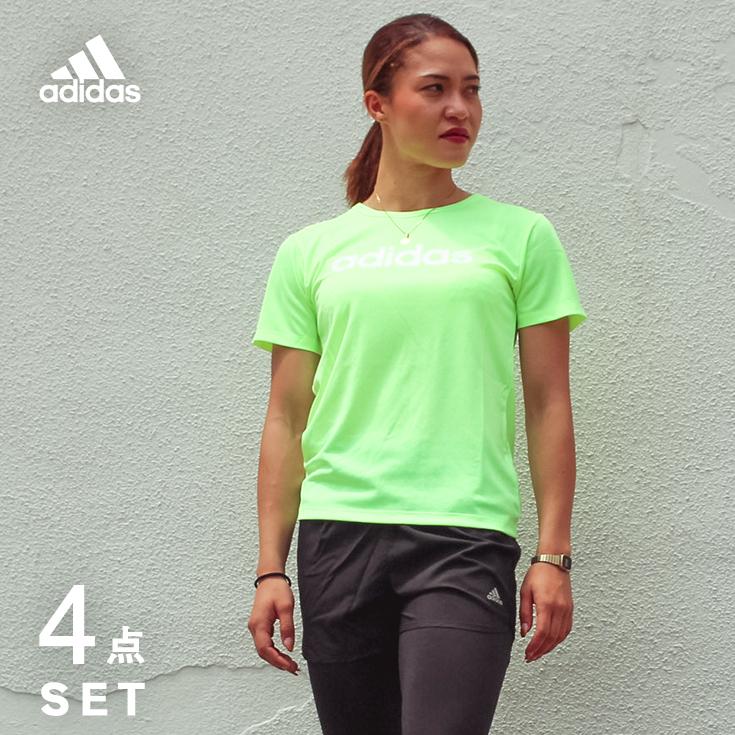 アディダス ランニングウェア セット レディース 4点 adidas 半袖Tシャツ + パンツ + タイツ + ソックス 初心者 上下 女性 ジョギング フルマラソン レギンス スパッツ 福袋 ウォーキング 夏