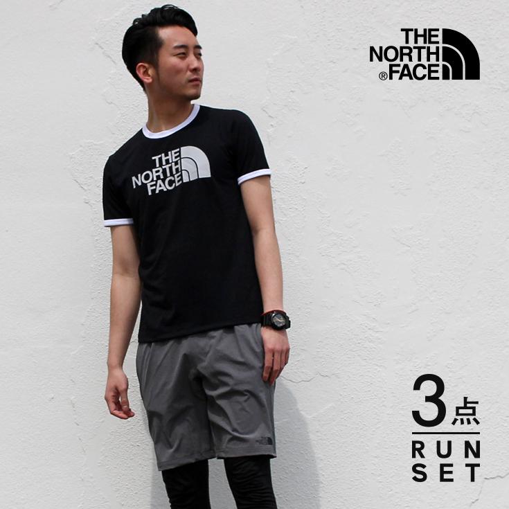 ノースフェイス ランニングウェア メンズ セット 3点 ( 半袖Tシャツ パンツ タイツ ) 上下 セットアップ 男性用 福袋 春 夏