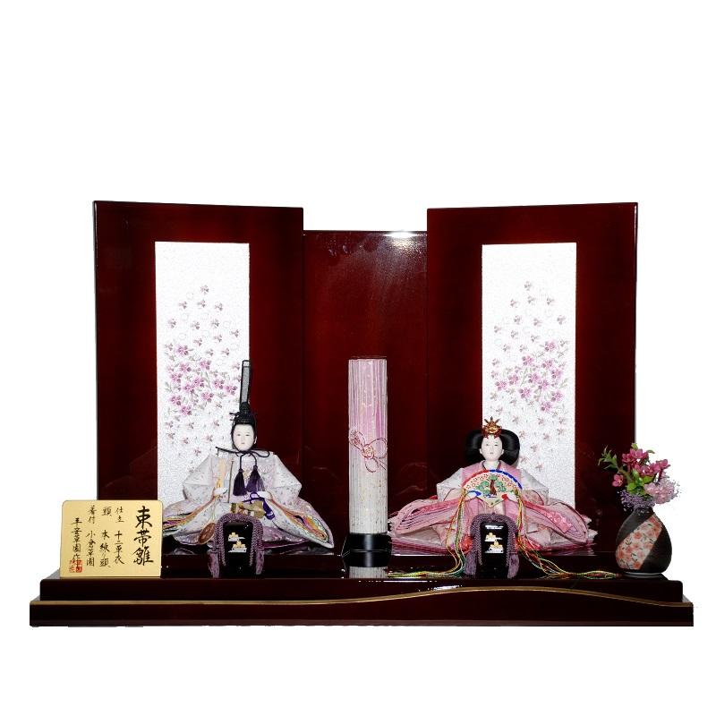 【雛人形】親王平飾り 束帯雛(2人) 幅80cm sz-27-285 京雛 木胴本仕立て 溜塗り小桜刺繍 雛祭り