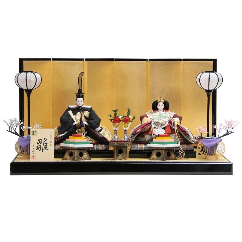 【雛人形】親王平飾り 平安十二単(2人) 幅85cm ya-29to6 祥秀 金駒刺繍 h357 雛祭り
