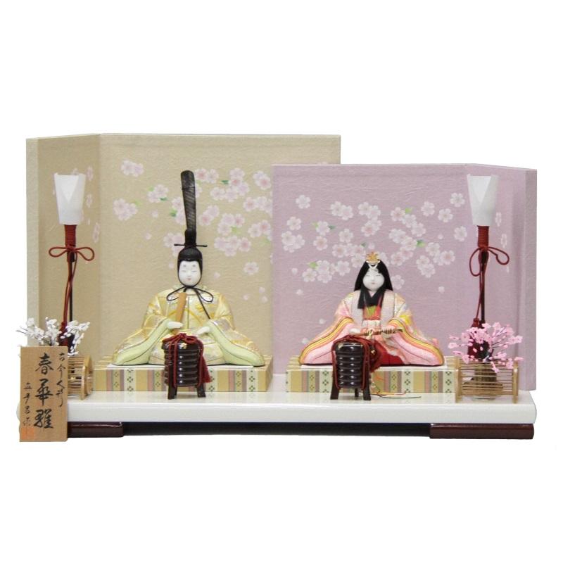 【雛人形】平飾り木目込み親王 春華雛1287 幅50cm 3mk21 真多呂 ピンクのお雛様古今人形 雛祭り