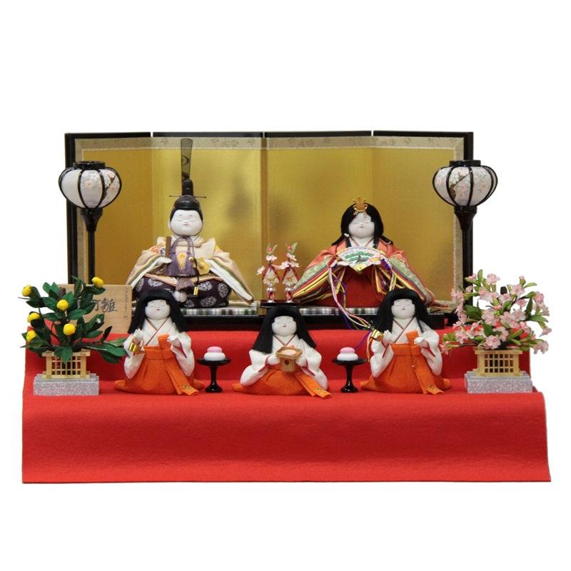 【雛人形】二段飾り木目込み五人揃 小町雛 幅61cm 3mk84 幸一光 雛祭り