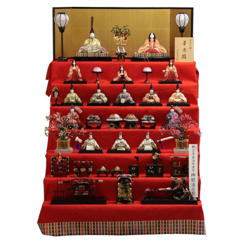 【雛人形】七段飾り木目込み十五揃 華園雛1306 幅105cm 3mk102 真多呂 雛祭り