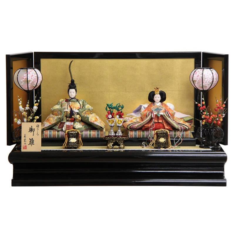 雛人形 親王平飾り 九番 hn96-hs1040 幅90cm 京刺しゅう 金沢絹目三折屏風 203to1049 ひな人形