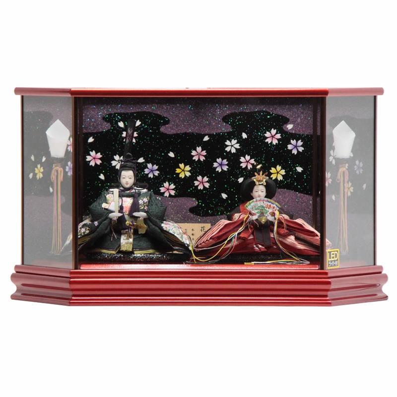 雛人形 親王ケース飾り 平安優香作 花ごよみ hn104 hs1111 幅57cm 京十二番 六角LEDケース マルーン [203to1115] ひな人形