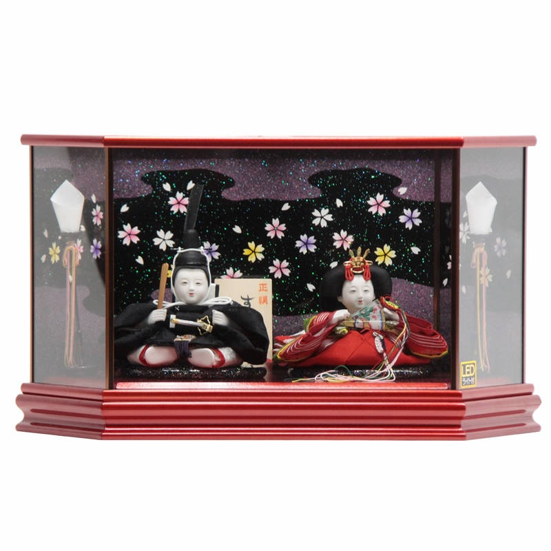 雛人形 親王ケース飾り 望月麗光作 するがひめ 有職おぼこ hn111 hs1111 幅57cm 極上本頭 六角LEDケース マルーン [203to1118] ひな人形