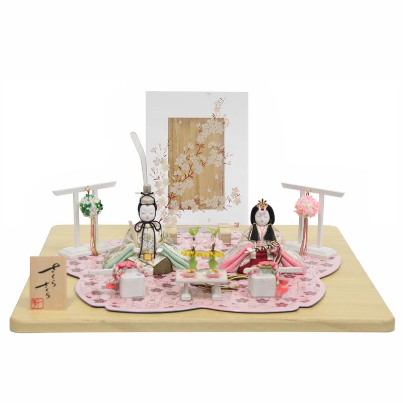 雛人形 木目込み 親王平飾り 一秀 さくらさくら  幅43cm 2号 金彩 (to1453) ひな人形