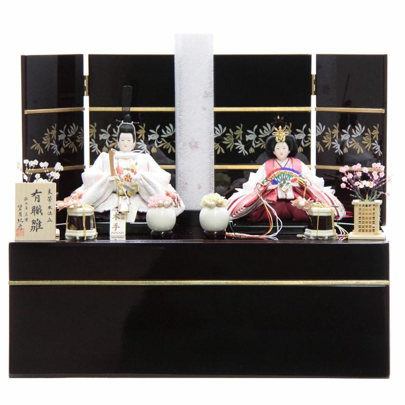 雛人形 親王収納飾り 望月三世 雪輪花刺しゅう 白 hn146 hs1480 幅50cm 芥子 カリノ引出収納台 行灯飾 (to1484) ひな人形 雛祭