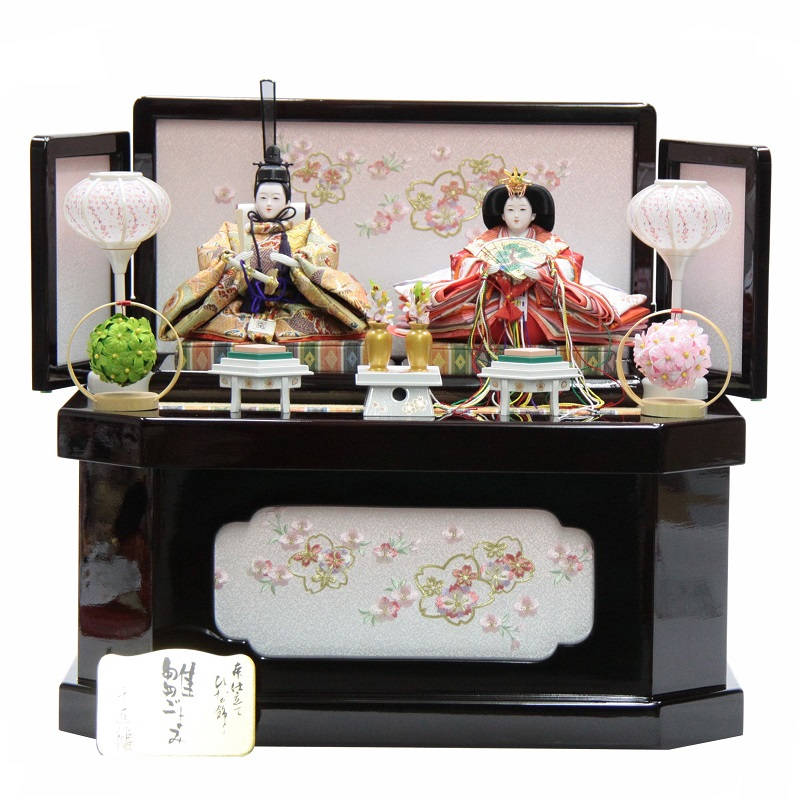 雛人形 親王収納飾り 千匠 hs99-13 hs1500 幅55cm 京芥子 ワイン塗「あおい」収納箱 (to1501) ひな人形 雛祭