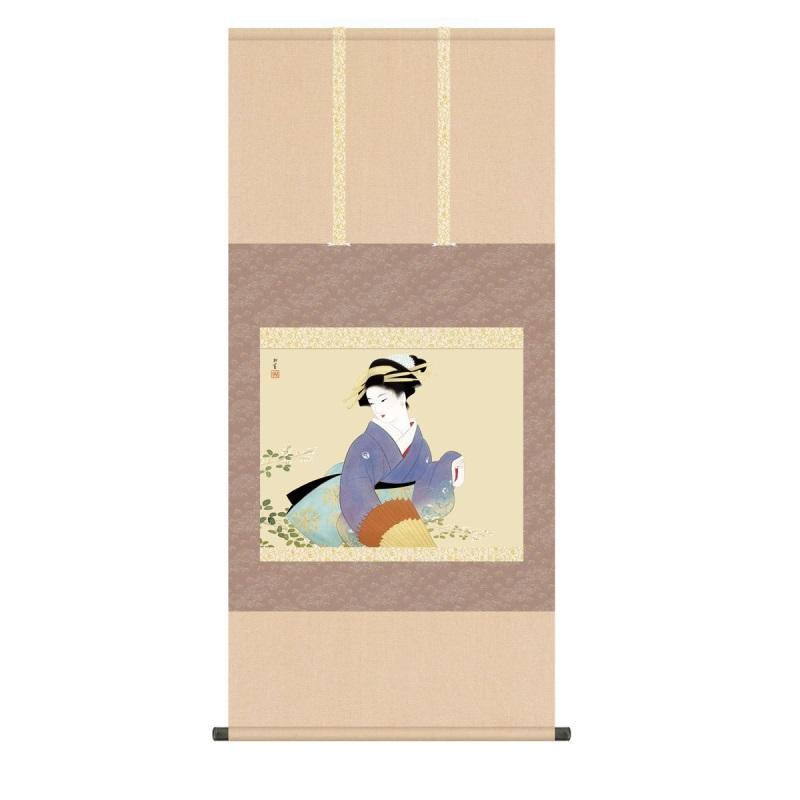 掛軸 上村松園 萩の露 (はぎのつゆ) 尺五 (KZ3G9-029) (代引き不可)