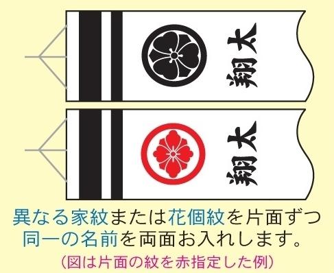 [徳永鯉][鯉のぼり]吹流し[2m~1.2m鯉用][異なる家紋または花個紋と名前][tn-F4b][日本の伝統文化][こいのぼり]