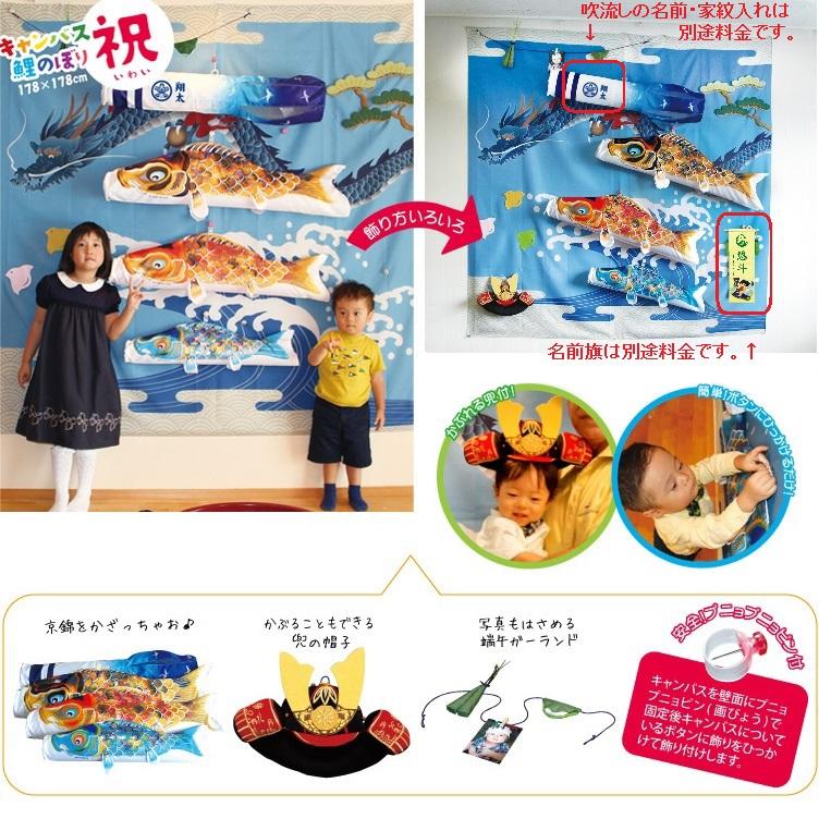 [徳永][鯉のぼり]室内用[キャンバス鯉のぼり]祝(いわい)[1m鯉3匹][京錦][京鶴吹流し][日本の伝統文化][こいのぼり]