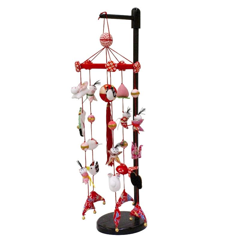 吊るし飾り まり飾り [ミニ] 鈴付、台付 [ 高さ 約44cm ] 雛人形