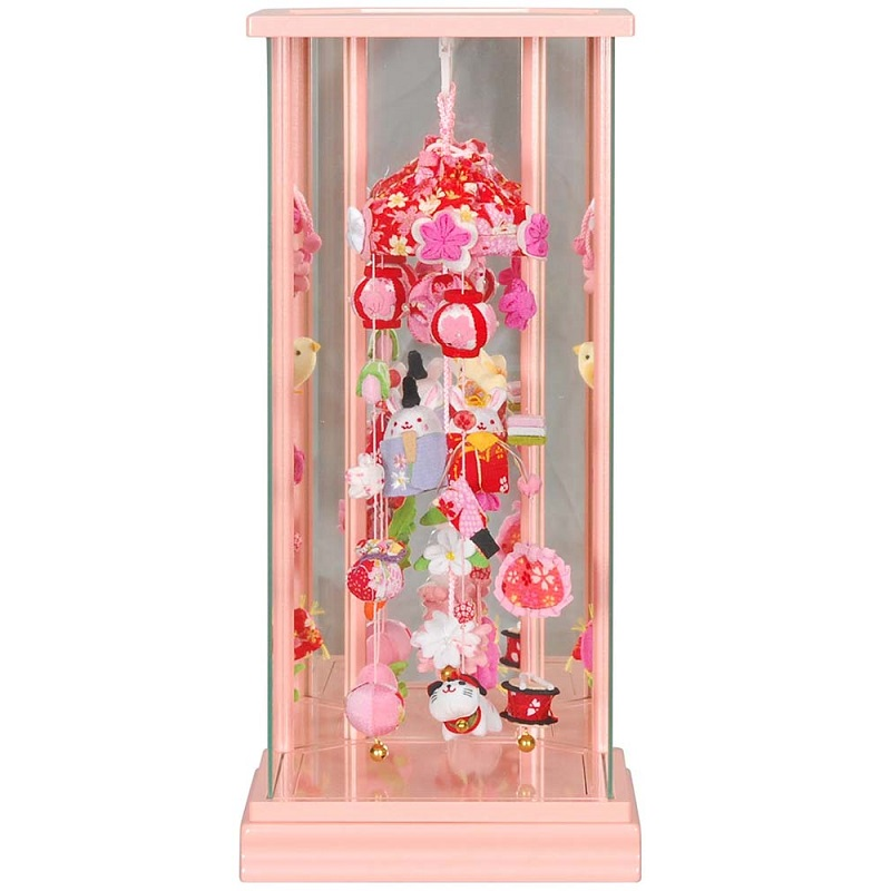 吊るし飾り ピンクケース入り(ころりんうさぎ雛)パールピンク塗 (特小) 六角吊るし飾りケース 高さ51cm (sb3-ckru-ss)