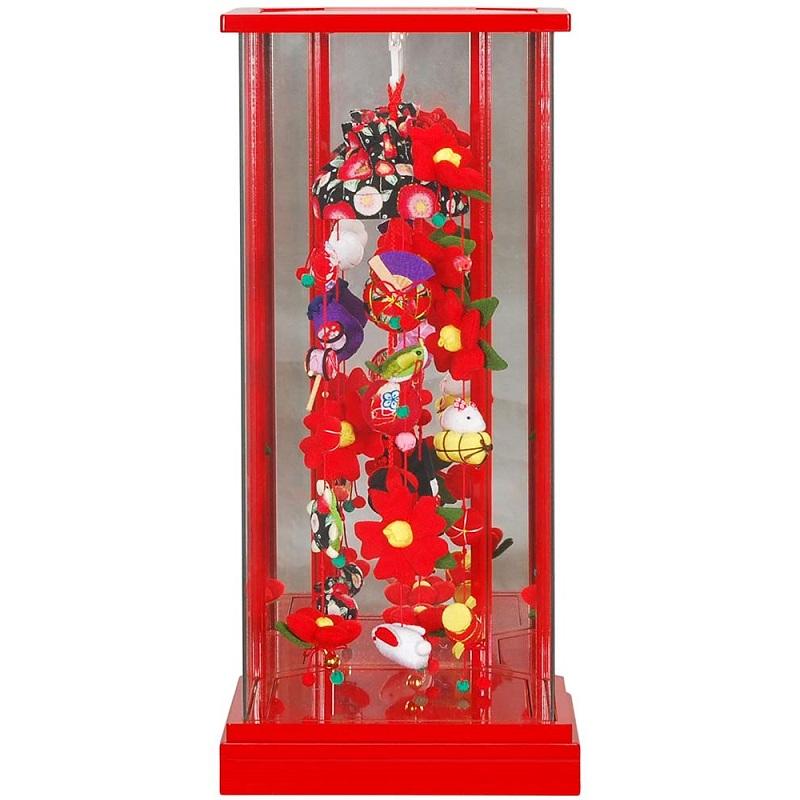 吊るし飾り 赤ケース入り(椿)赤塗 (特小) 六角吊るし飾りケース 高さ51cm (sb3-ctbk-ss)