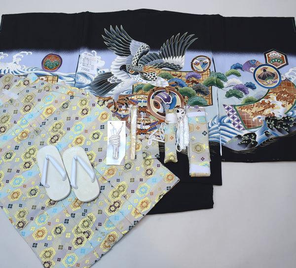 七五三 5歳 5才 五歳 五才 男の子 男児 祝着 正絹 着物 羽織袴フルセット 着物生地は日本製 袴と縫製は海外 (仕立て可95-125cm 紋入れ可 草履サイズ変更可) 新品(株)安田屋 c706163560
