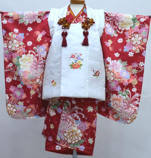 七五三 三歳 女児 女の子 被布 着物セット 日本製 綸子地 陽気な天使 三才 3歳 3才 新品 (株)安田屋 c803300182