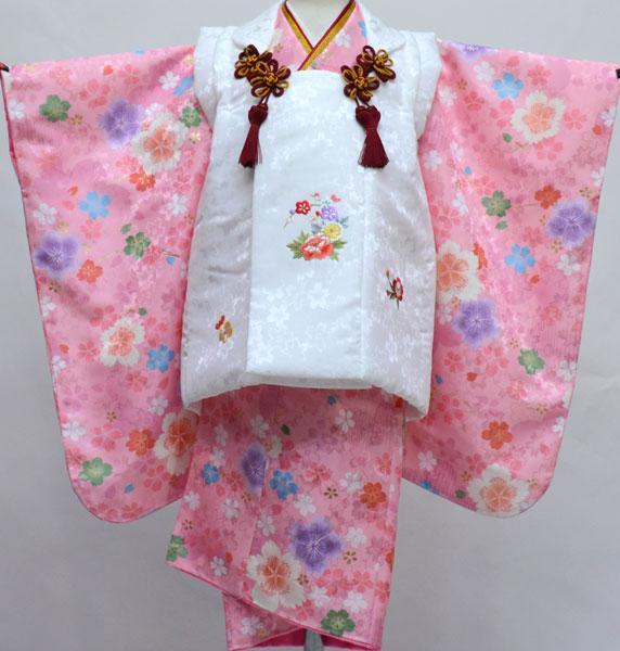 七五三 三歳 女児 女の子 被布 着物セット 日本製 綸子地 陽気な天使 三才 3歳 3才 新品 (株)安田屋 d419337263