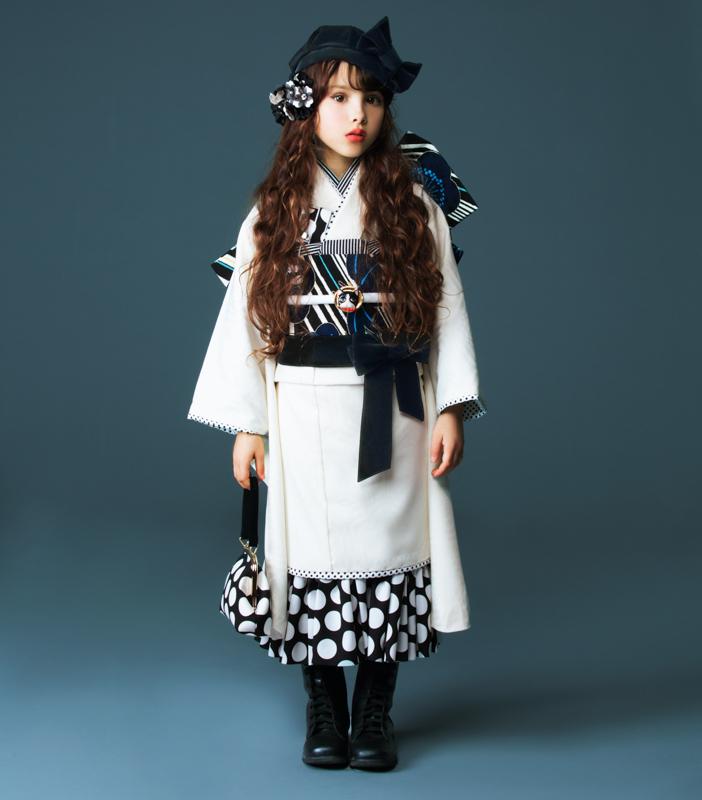 七五三 7才 7歳 七才 七歳 女児 女の子 着物フルセット 祝着 JAPAN STYLE 白地 つくり帯 新品(株)安田屋 462022734