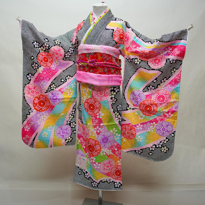 七五三 7才 7歳 七才 七歳 女児 女の子 正絹 日本製 着物フルセット 総疋田鹿子模様柄 結び帯 新品 (株)安田屋 x692556203
